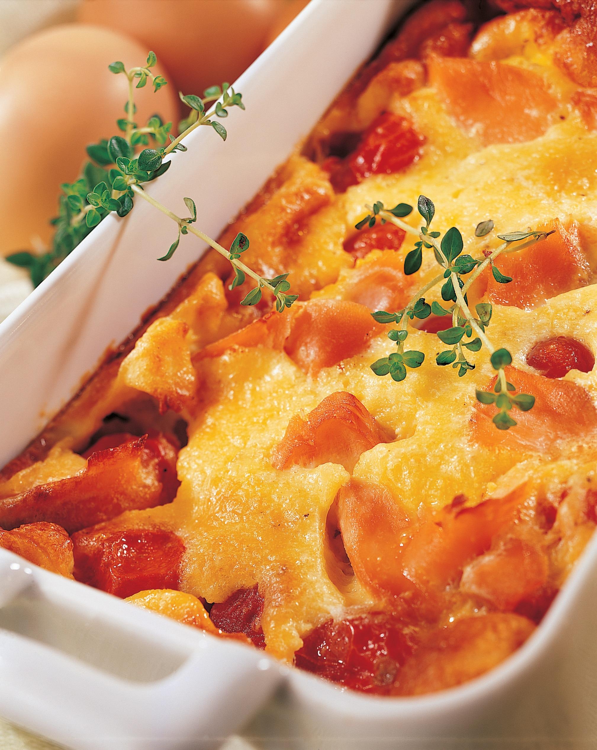Recette clafoutis à la Truite, tomates cerise et fromage frais