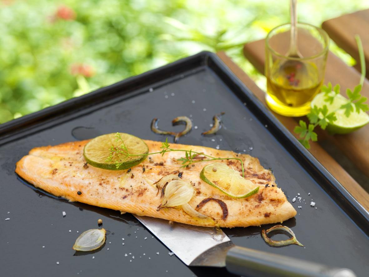 Recette filet de Truite mariné au citron vert et gingembre, à la plancha