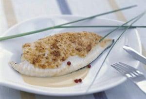 Recette filet de Turbot poêlé un voile de parmesan d'épices fumet réduit aux épices de pain