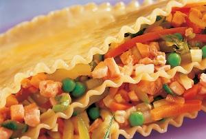 Recette lasagnes tièdes à la Truite et aux petits légumes
