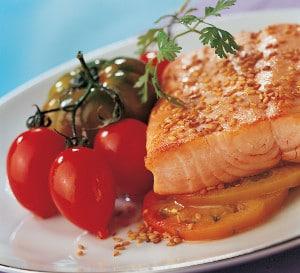 Recette pavé de Truite aux deux tomates et à la graine de sésame