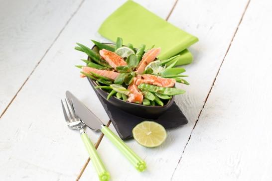 Atelier Salade - Salade de pois gourmands à la truite, sauce thaï