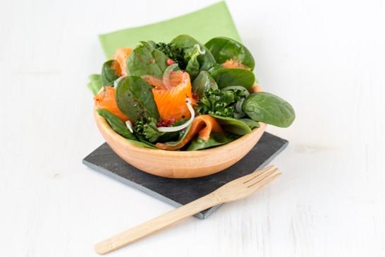Atelier Salade - Salade de pousses d'épinard à la truite fumée