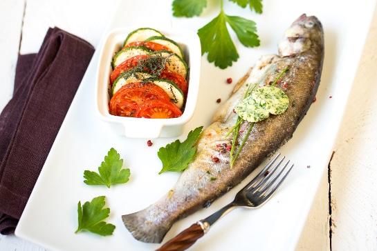 Atelier Grill - Truite portion au tian de légumes et beurre de printemps