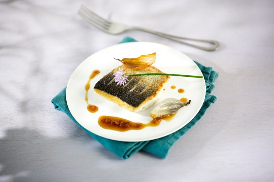 Recette poisson - Bar à l'échalote confite