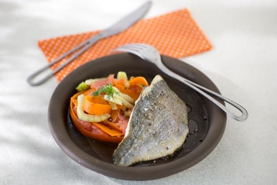 Recette de daurade - Daurade grillée, tagliatelle de carotte