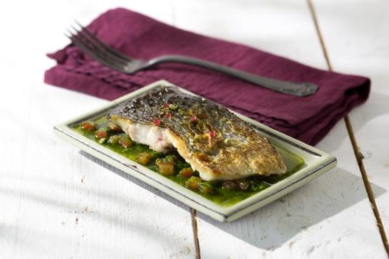 Recette poisson  - Pavé de maigre, sauce vierge