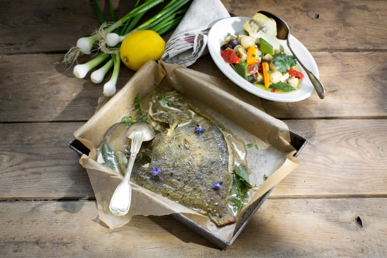 Recette poisson - Turbotin, grecque de légumes