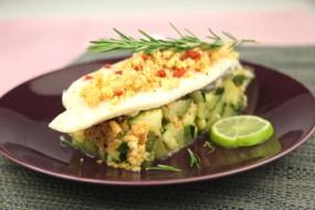 Filets de turbot au chorizo et caviar de courgettes atelier poisson - Recette de turbot grille ...