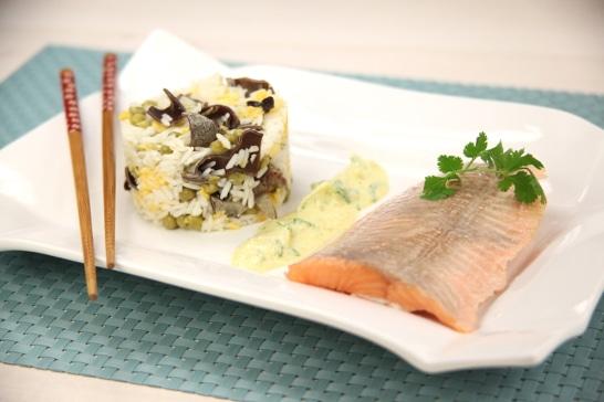 Filets de truite au curry, riz Thaï aux champignons noirs - Saveurs d'Asie | Atelier Poisson