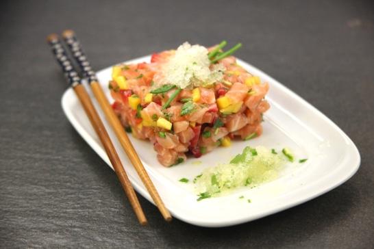 Tartare de saumon aux agrumes et granité de yuzu - Saveurs d'Asie | Atelier Poisson