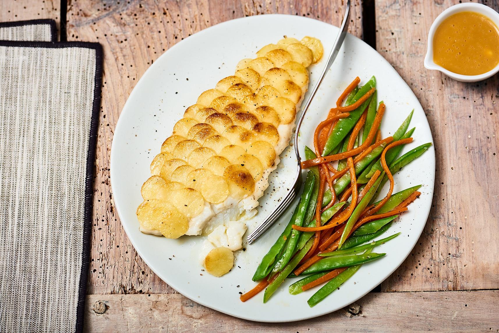 Recette filet de turbot en cailles de pommes de terre beurre d 39 orange et l gumes printaniers - Recette de turbot grille ...